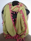 Image of Sunrise Chartreuse Scarf with Tassels