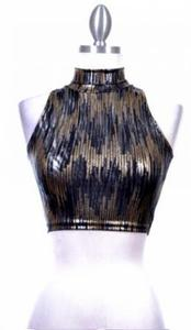 Image of GOLD & BLACK LIQUID LEATHER CROP
