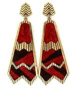 Image of ZigZag Abstract Earrings (Red or Black)