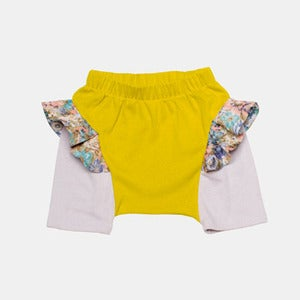 Image of Ruffle Shorts - Yellow+Violet
