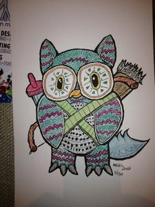 Image of Samuari Owl Water Color Print