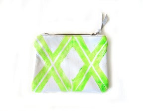 Image of Small neon yellow green Xs hand-printed leather pouch