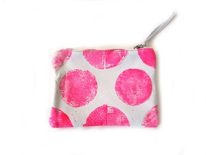 Image of Small neon pink Os hand-printed leather pouch