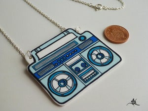Image of Boombox Necklace - Blue/Light Blue