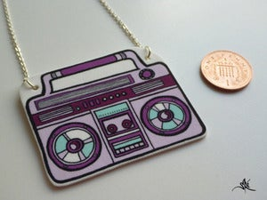 Image of Boombox Necklace - Purple/Turquoise