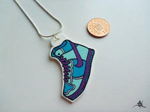Image of Big Sneaker Necklace - Purple/Blue