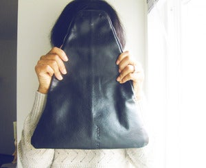 Image of Black on Black Leather Foldover Clutch