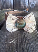 Image of Antique Lace Bow with Antique Lapel Pin Leather Cuff