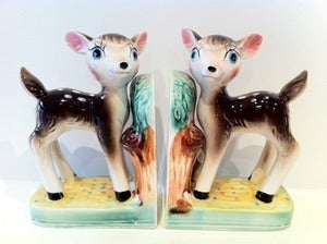 Image of VINTAGE DEER BOOKENDS-CUTE LIKE BAMBI