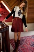 Image of Miss Patina Key Buckle Belt Pleated Skirt (Maroon)