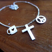 Image of Coffee + Cross + Peace Custom Silver Necklace