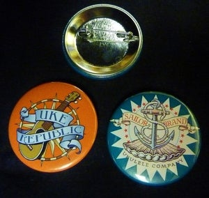 Image of UKE Republic Promo Pin Back Button Set
