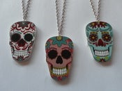 Image of Mexican Sugar Skull Rockabilly Tattoo Acrylic Day of the Dead Necklace Dias de los Muertos