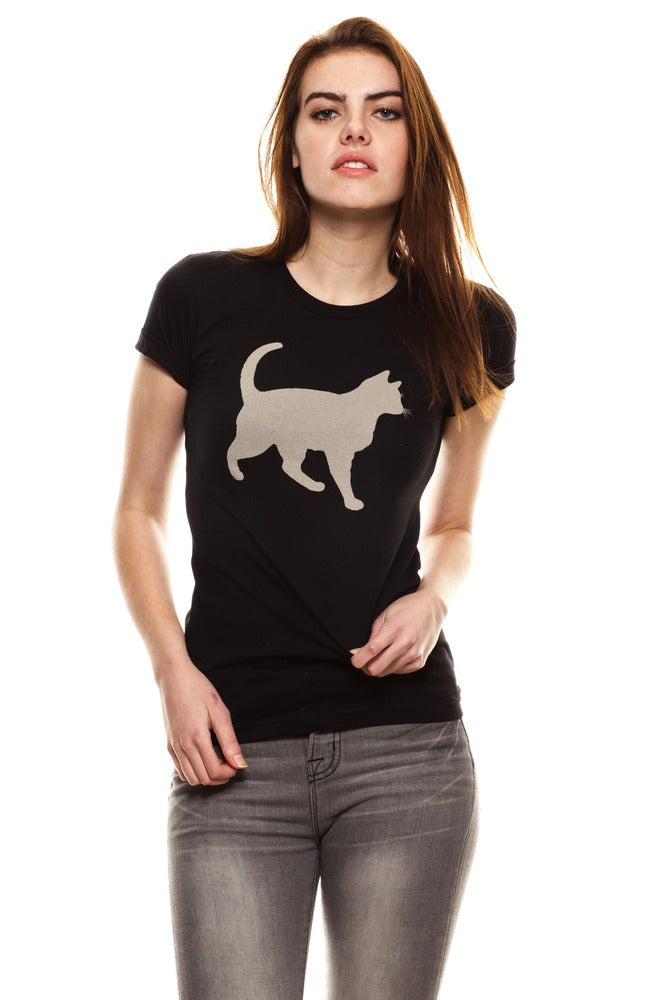 Image of GIRLS BLACK &quot;MINI MIM&quot; BLEACH OUT CAT TEE