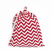 Image of Extra Large Laundry Bag for Dorm and Travel : Red and White Chevron