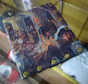 "Image of ""CAVE PARTY"" Tom Fugle hand made leather wallets with David Mann artwork"
