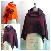Image of Fleece shawls with lace appliques