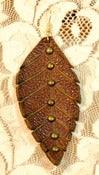 Image of Warm Brown Leather Leaf Earrings