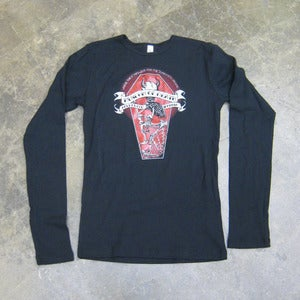 Image of Red Glitter Devil In Coffin - Girly Tee (Long sleeve)