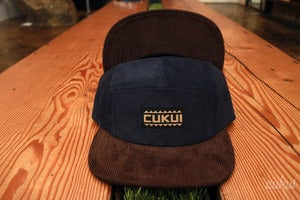 Image of Corduroy Camp Hats Leather Strapback - Navy/Brown