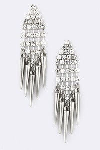 Image of CRYSTAL TOP SPIKE EARRINGS