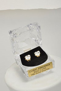 Image of Heart of Gold CZ Studs