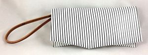 Image of WHAT?! wristlet (black &amp; white stripe)