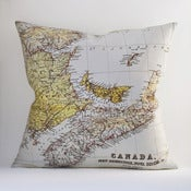 "Image of Vintage CANADA, EASTERN Map 18""x18""  Pillow Cover"
