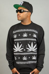 Image of Leaves Crewneck Black
