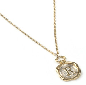 Image of Personalised Gold Wax Seal Necklace (A-Z)