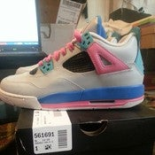 "Image of Air Jordan IV retro ""South Beach"" Custom (kids/womens version)"