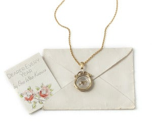 Image of Mini Heart or Horse Shoe Wax Seal Necklace with scroll top