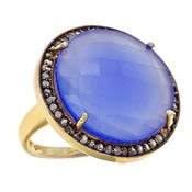 "Image of "" New "" Kara Ackerman <i> Alice Rose <i/> Cocktail Ring in Blue onyx"