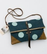 Image of S O L D -- foldover crossbody bag in muted teal wool with hand cut aqua leather dots