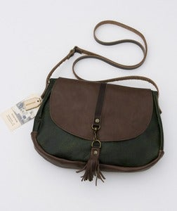 Image of small ALL LEATHER crossbody bag (deep pine + espresso)