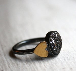 Image of Black Drusy with Brass Hearts
