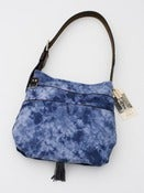Image of hand tie-dyed shoulder bag in muted navy