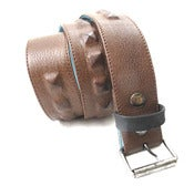 Image of No.80025 single row hidden pyramid stud belt. brown saddle leather