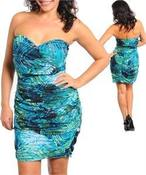 Image of Ocean Wave Strapless Dress
