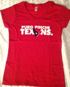 Image of PURO PINCHE TEXANS (LADIES VNECK) RED