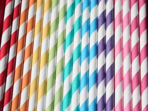 Image of Paper Straws (bright stripes)