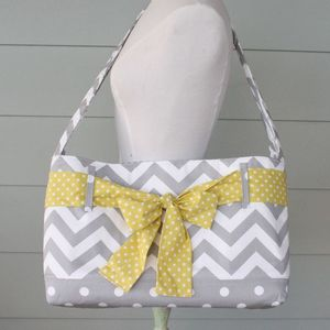 Image of messenger bag - grey chevron with citron dot sash