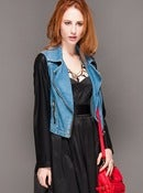 Image of Two toned denim Jacket with pu leather sleeves