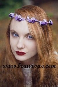 Image of Purple Ombre Floral and Lilac Ivy Leaf Trim Festival Flower Hair Crown Hair Garland
