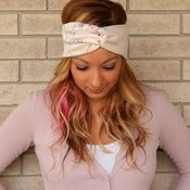Image of the turband- cream/pastel two toned headwrap