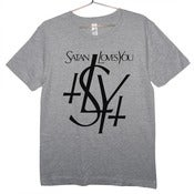 Image of YSL Parody Satan Love You T-shirt | Black on Gray
