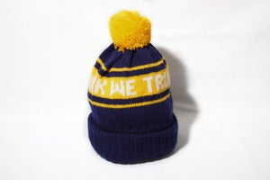 Image of Navy & yellow bobble hat
