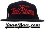 Image of Vintage Deadstock Portland Trailblazers Black Wool Sports Specialties Script Snapback Cap