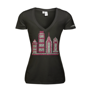 Image of Women's Philly Skyscraper - Deep V (Black)