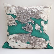 Image of Vintage STOCKHOLM Map Pillow, Made to Order 18&quot; x18&quot; Cover